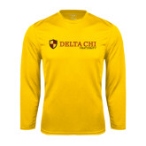Performance Gold Longsleeve Shirt-Delta Chi Fraternity W/ Shield Flat