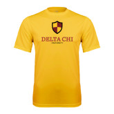 Performance Gold Tee-Delta Chi Fraternity W/ Shield Stacked