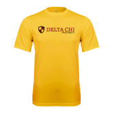 Performance Gold Tee-Delta Chi Fraternity W/ Shield Flat