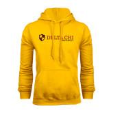 Gold Fleece Hoodie-Delta Chi Fraternity W/ Shield Flat