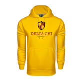 Under Armour Gold Performance Sweats Team Hoodie-Delta Chi Fraternity W/ Shield Stacked