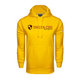 Under Armour Gold Performance Sweats Team Hoodie-Delta Chi Fraternity W/ Shield Flat