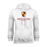 White Fleece Hoodie-Delta Chi Fraternity W/ Shield Stacked