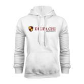 White Fleece Hoodie-Delta Chi Fraternity W/ Shield Flat