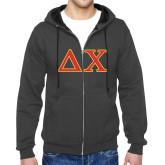 Charcoal Fleece Full Zip Hood-Greek Letters