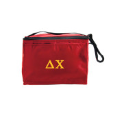 Six Pack Red Cooler-Solid Greek Letters