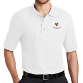 White Easycare Pique Polo-Delta Chi Fraternity W/ Shield Stacked
