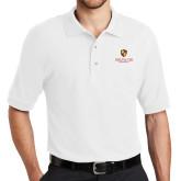 White Easycare Pique Polo-Delta Chi Fraternity W/ Shield Stacked