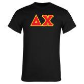Black T Shirt-Tackle Twill Greek Letters