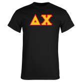 Black T Shirt-Tackle Twill Greek Letters