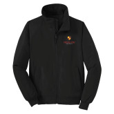 Black Charger Jacket-Delta Chi Fraternity W/ Shield Stacked