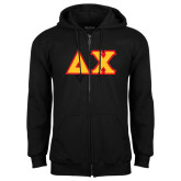 Black Fleece Full Zip Hoodie-Tackle Twill Greek Letters