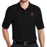 Black Easycare Pique Polo-Delta Chi Fraternity W/ Shield Stacked