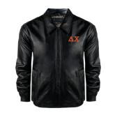 Black Leather Bomber Jacket-Greek Letters