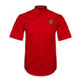 Red Twill Button Down Short Sleeve-Contemporary Coat Of Arms