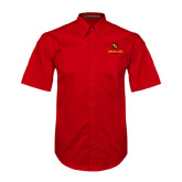 Red Twill Button Down Short Sleeve-Delta Chi Fraternity W/ Shield Stacked