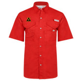 Columbia Bonehead Red Short Sleeve Shirt-Badge