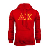 Red Fleece Hoodie-Tackle Twill Greek Letters