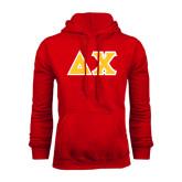 Red Fleece Hood-Tackle Twill Greek Letters
