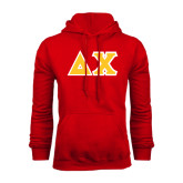Red Fleece Hoodie-Tackle Twill Greek Letters