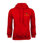 Red Fleece Hoodie-Delta Chi Fraternity W/ Shield Stacked