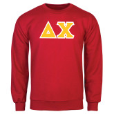 Red Fleece Crew-Tackle Twill Greek Letters