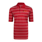 Adidas Climalite Red Textured Stripe Polo-Delta Chi Fraternity W/ Shield Flat