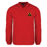 V Neck Red Raglan Windshirt-Badge