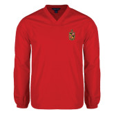 V Neck Red Raglan Windshirt-Contemporary Coat Of Arms