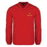 V Neck Red Raglan Windshirt-Delta Chi Fraternity W/ Shield Stacked