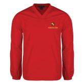 V Neck Red Raglan Windshirt-Delta Chi Fraternity W/ Shield Stacked