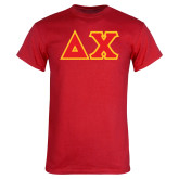 Red T Shirt-Tackle Twill Greek Letters