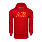 Under Armour Red Performance Sweats Team Hoodie-Tackle Twill Greek Letters