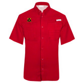 Columbia Tamiami Performance Red Short Sleeve Shirt-Badge