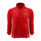 Fleece Full Zip Red Jacket-Delta Chi Fraternity W/ Shield Stacked