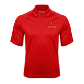 Red Textured Saddle Shoulder Polo-Delta Chi Fraternity W/ Shield Stacked