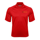 Red Textured Saddle Shoulder Polo-Delta Chi Fraternity W/ Shield Flat
