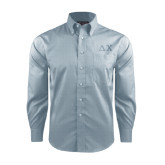 Red House Lt Blue Long Sleeve Shirt-Solid Greek Letters