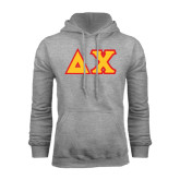 Grey Fleece Hood-Tackle Twill Greek Letters