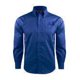 Red House French Blue Long Sleeve Shirt-Solid Greek Letters