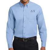 Light Blue Twill Button Down Long Sleeve-Solid Greek Letters