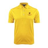 Gold Dry Mesh Polo-Delta Chi Fraternity W/ Shield Stacked