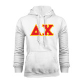 White Fleece Hoodie-Tackle Twill Greek Letters