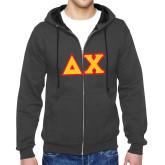 Charcoal Fleece Full Zip Hood-Tackle Twill Greek Letters