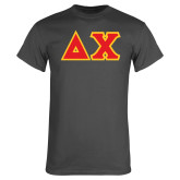 Charcoal T Shirt-Tackle Twill Greek Letters
