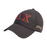 Steel Grey Twill Unstructured Low Profile Hat-Greek Letters
