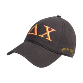 Charcoal Twill Unstructured Low Profile Hat-Greek Letters