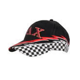 Black Twill w/Red/White Racing Pattern Structured Hat-Greek Letters
