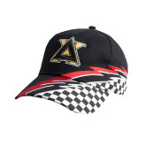 Black Twill w/Red/White Racing Pattern Structured Hat-Badge