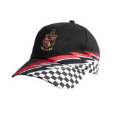 Black Twill w/Red/White Racing Pattern Structured Hat-Contemporary Coat Of Arms